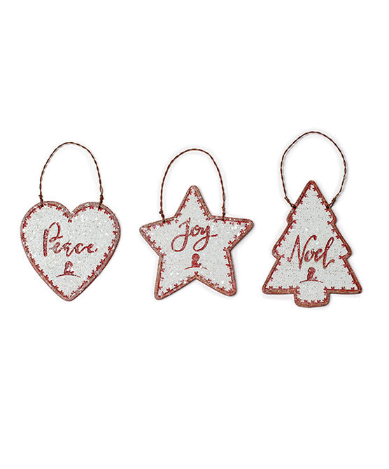 Wooden Holiday Shaped 3 Piece Ornament Set