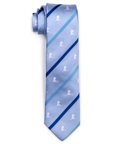 Blue Multi-Stripe Logo Silk Tie