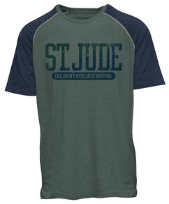 Green & Blue Color Block Baseball T-Shirt