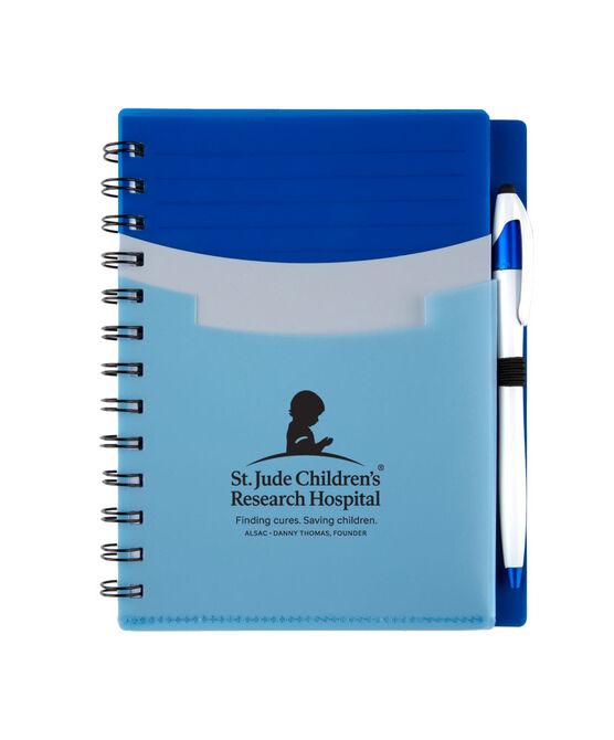 Tri Pocket Desk Notebook With Pen - Blue