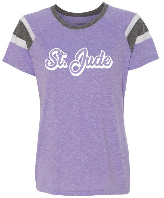 Women's Striped Lavender Arm T Shirt