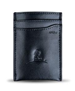 Leather Wallet Money Clip - Black