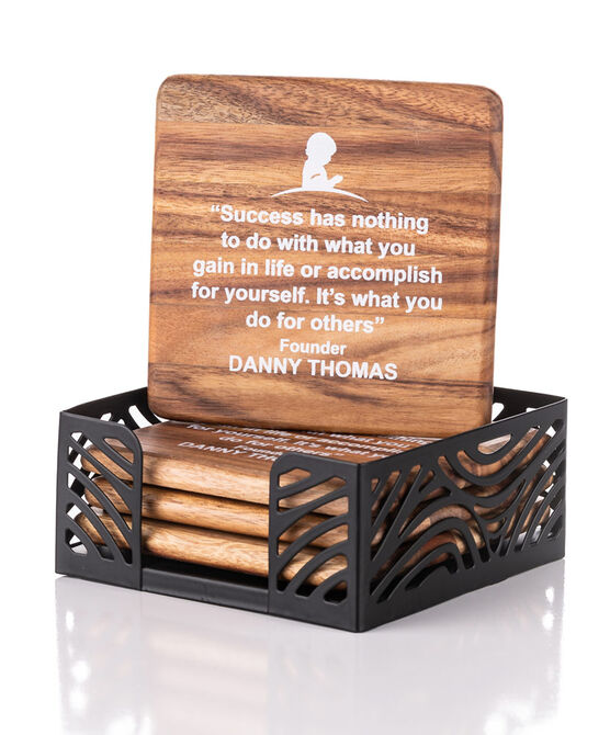 Danny Thomas Quote Wooden Coaster Set
