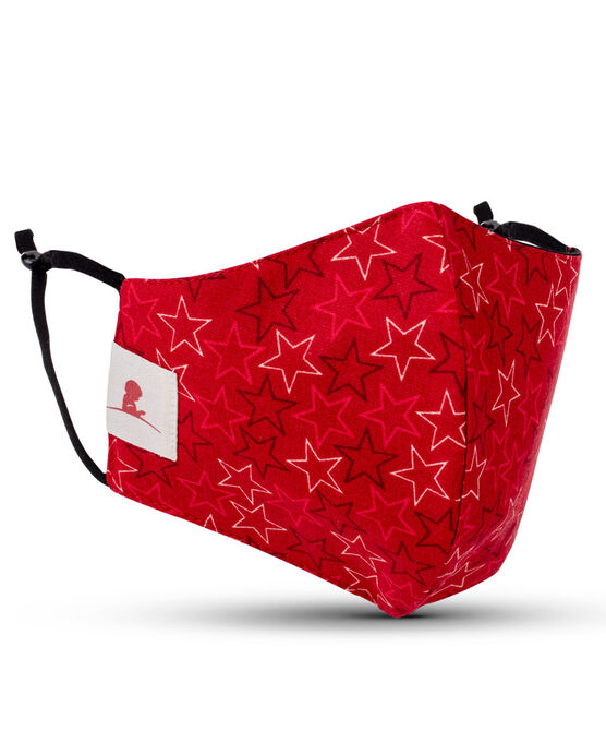 Adult Red Stars 2-ply Cotton Mask with Adjustable Straps