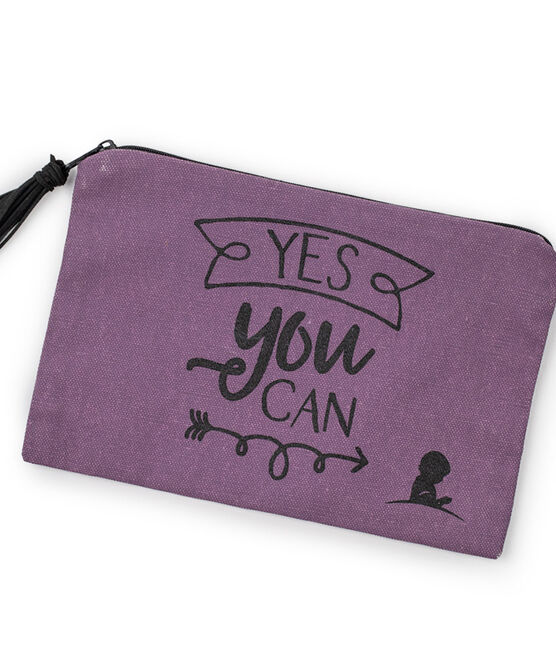 Yes You Can Canvas Cosmetic Bag
