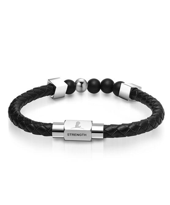 Braided Leather Bead Bracelet