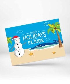 Snowman at the Beach Greeting Card 10 Pack