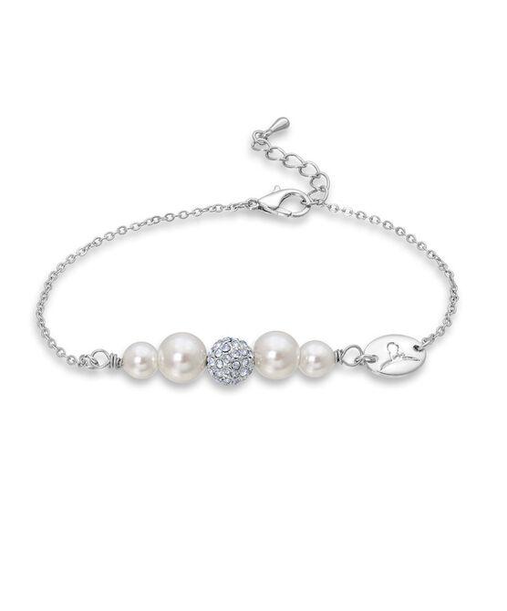 Shimmer Bead & Pearl Silver Bracelet
