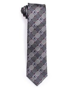Grey Criss Cross Stripe Pattern Silk Tie