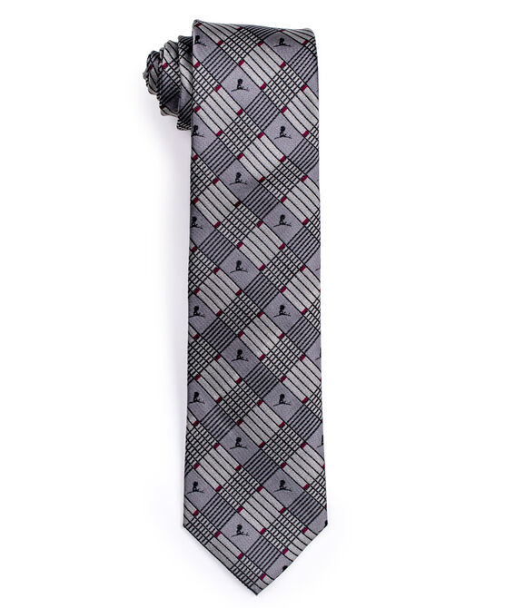 Grey Criss Cross Stripe Pattern Silk Tie