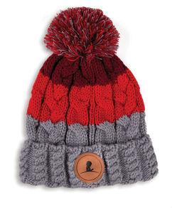 Tri-Color Pom Pom Knit Beanie