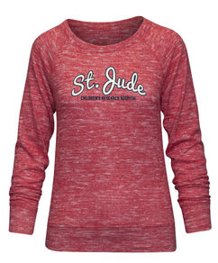 Women's Red Heather Crew Neck Sweatshirt