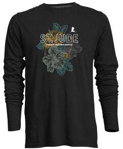Women's Heathered Black Floral Long-Sleeve T-Shirt