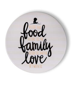 "Food Family Love 7"" Coton Colors Ceramic Trivet"