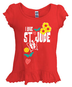 Girls Love Butterfly Ruffle Hemmed T-Shirt