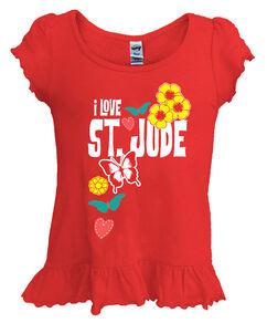 Girls Love Butterfly Ruffle Hemmed T-Shirt