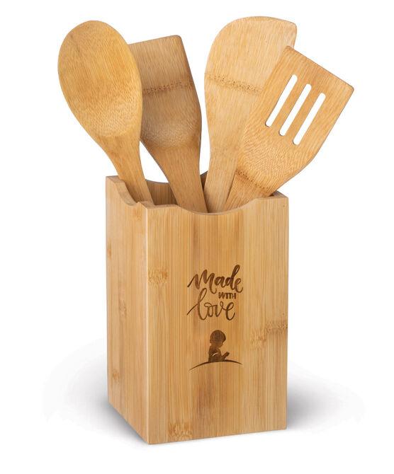 Bamboo Kitchen Utensil Holder & Set