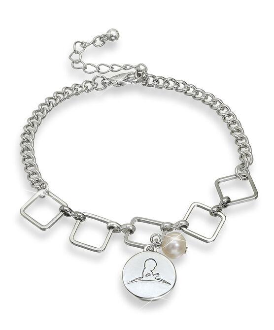 Silver Square Disc Bracelet