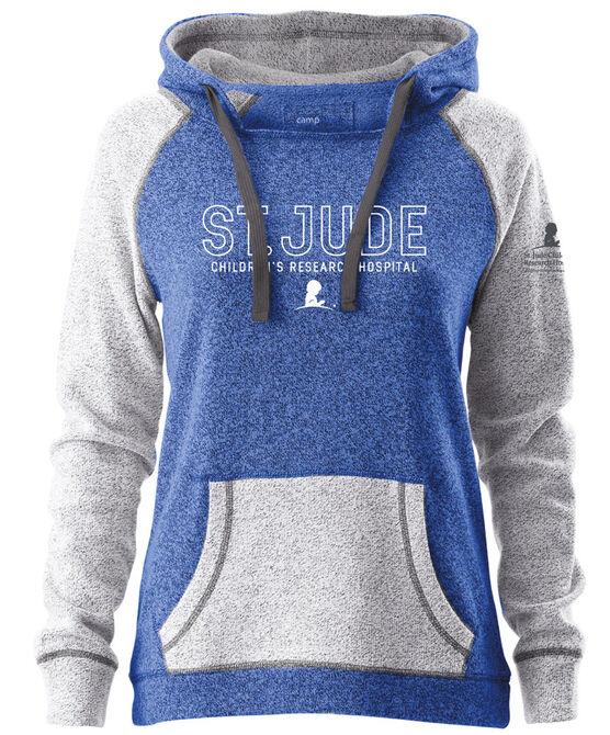 Women's Blue Colorblock Hooded Sweatshirt