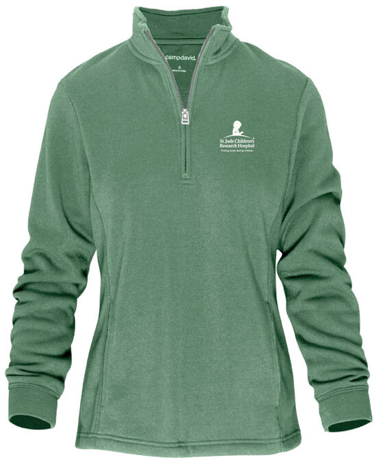 Women's Green Quarter Zip Pullover