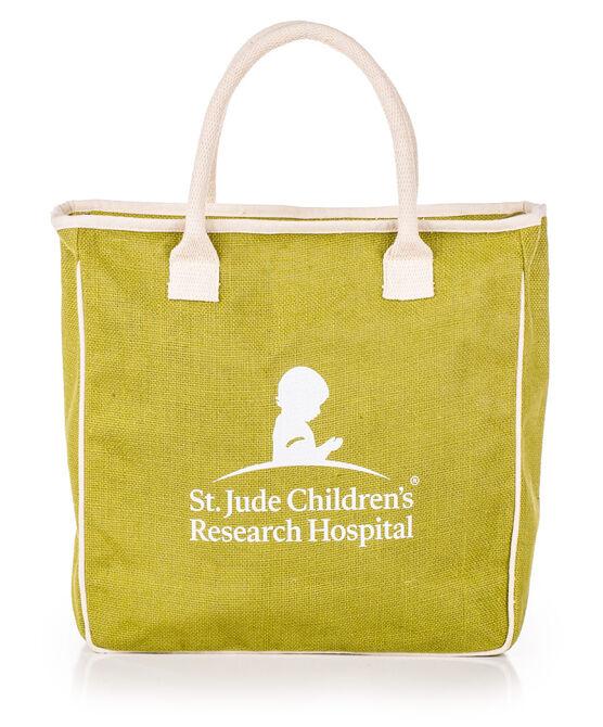 St. Jude Logo Green Jute Tote Bag
