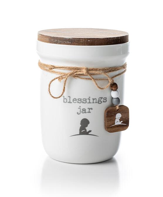 Porcelin Blessings Jar with Wood Lid