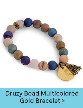 Druzy Bead Multicolored Gold Bracelet