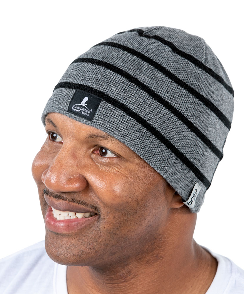 Striped Knit Performance Grey Beanie