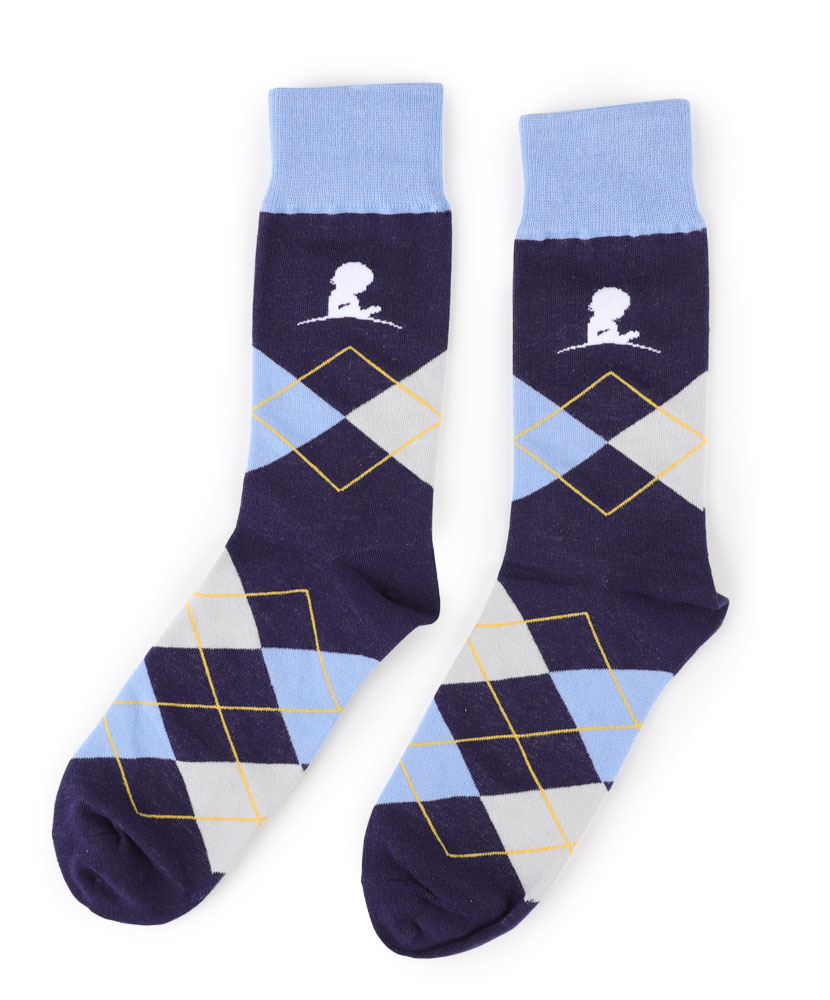 Blue and Gold Argyle Sock