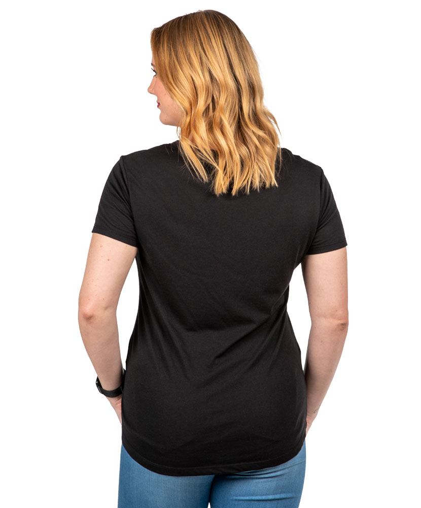 Women's Black Criss-Cross Neck T-shirt