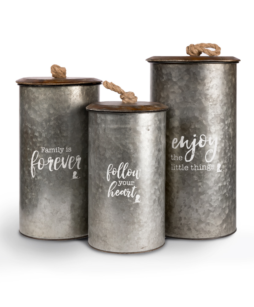 3 Piece Galvanized Canister Set