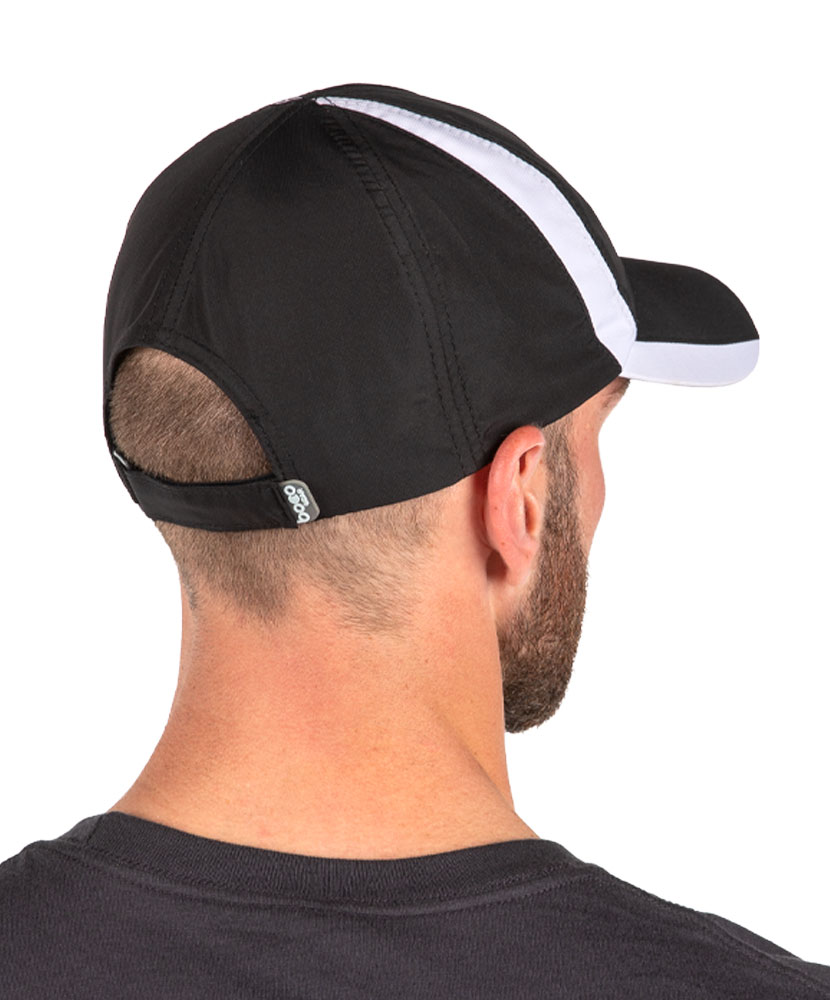 Color Block Running Hat Black and White