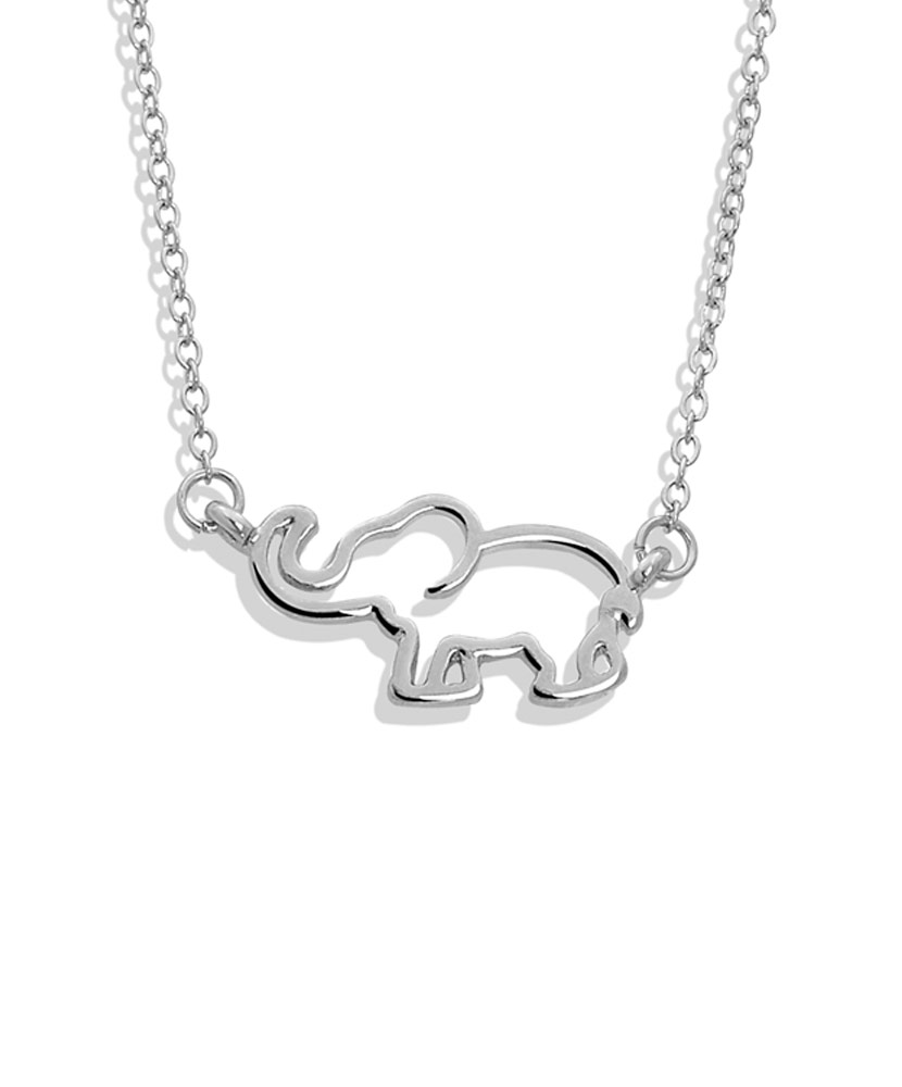 Elephant Outline Silver Necklace