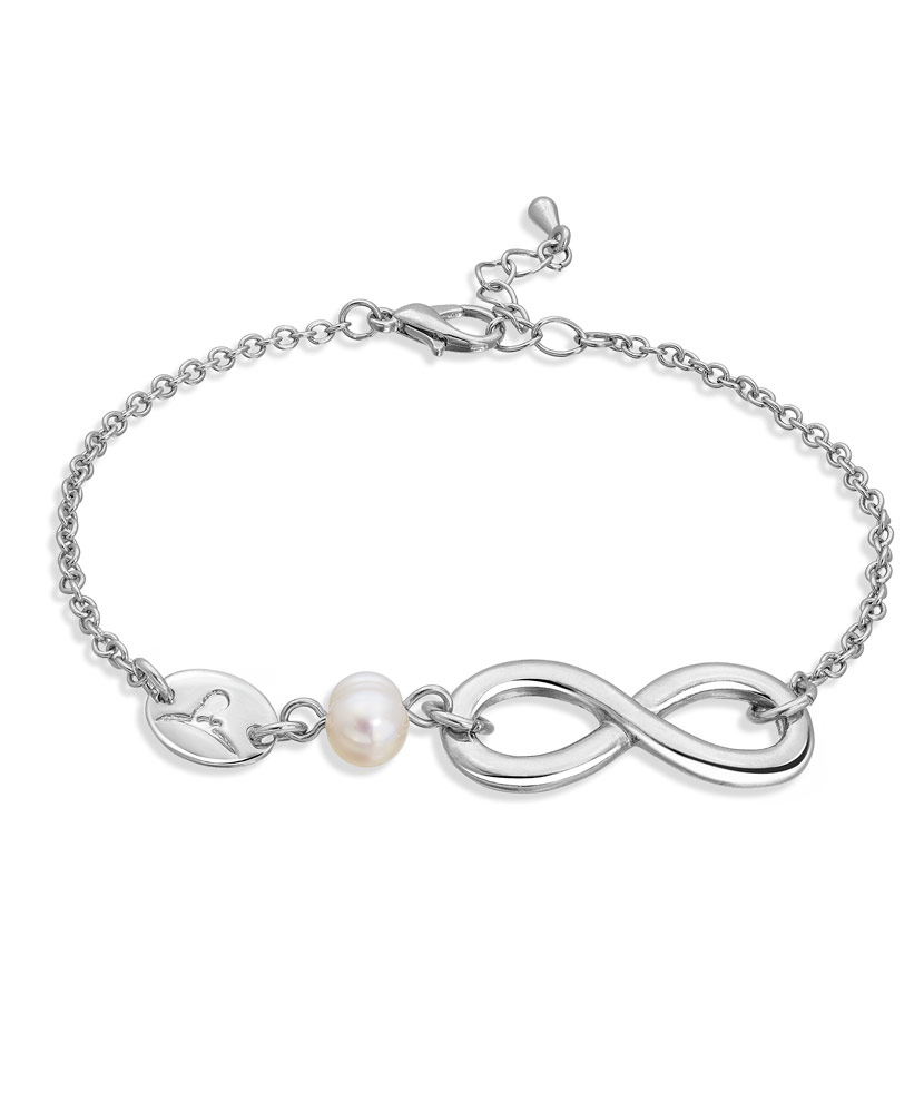Silver and Pearl Infinity Bracelet