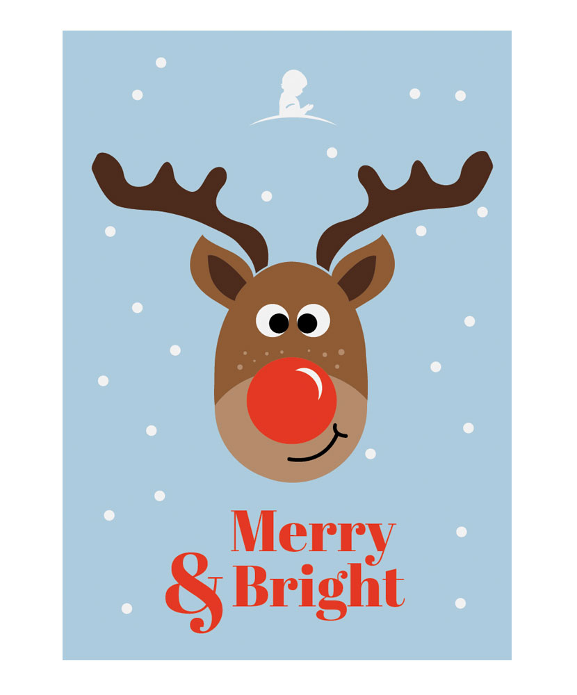 Reindeer Holiday Greeting Cards - Set of 10