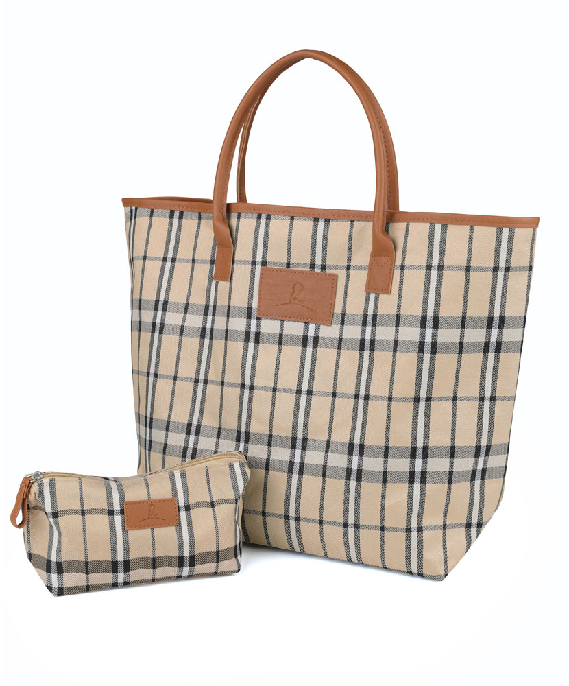 Tartan Plaid Tote and Accessory Bag Set