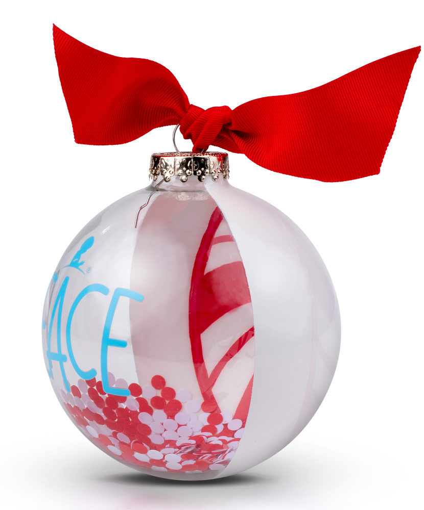 "2020 Half Clear Peppermint Peace 4"" Glass Ornament"