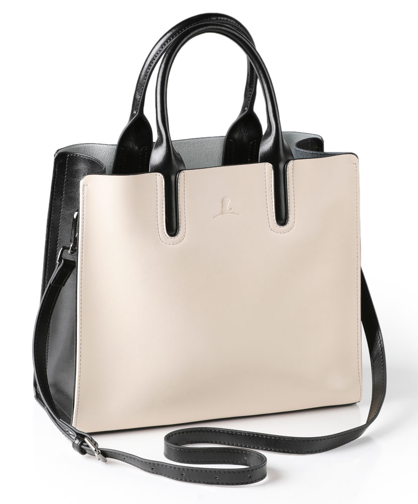 Black and Cream Color Block Leather Tote