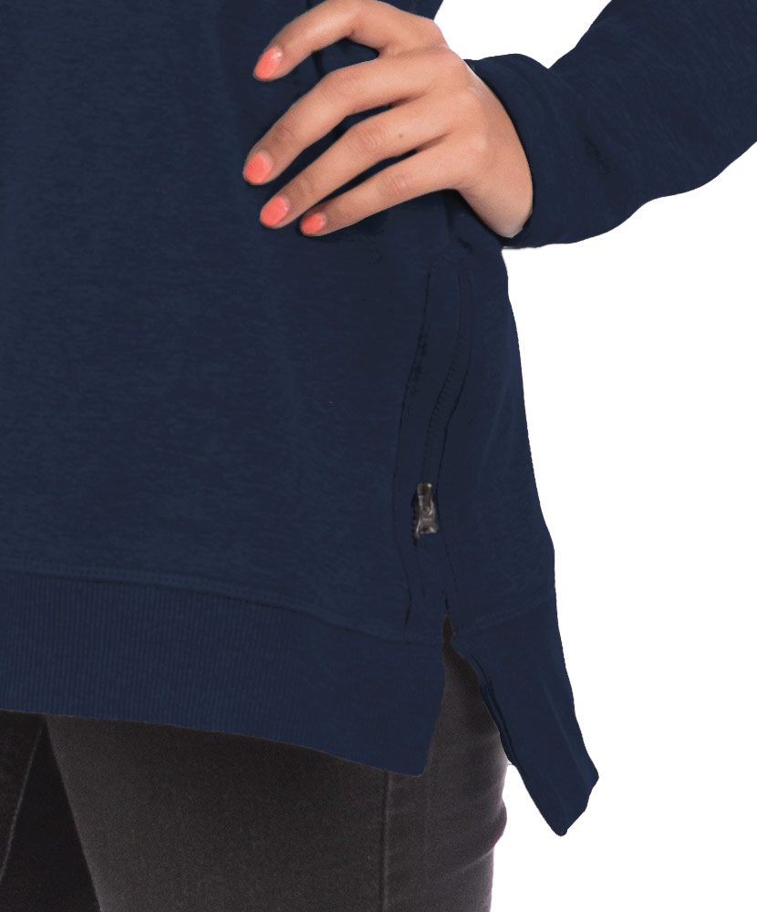 Women's V-Neck Side Zip Navy Sweatshirt