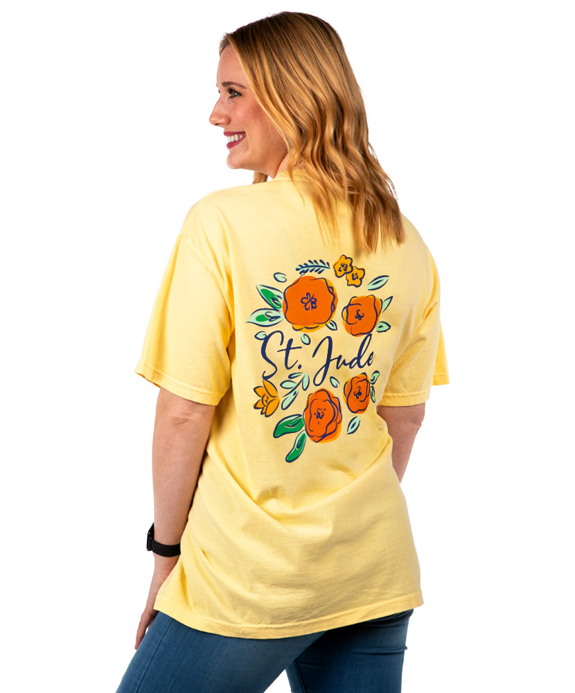 Women's Yellow Floral Wreath Back Design