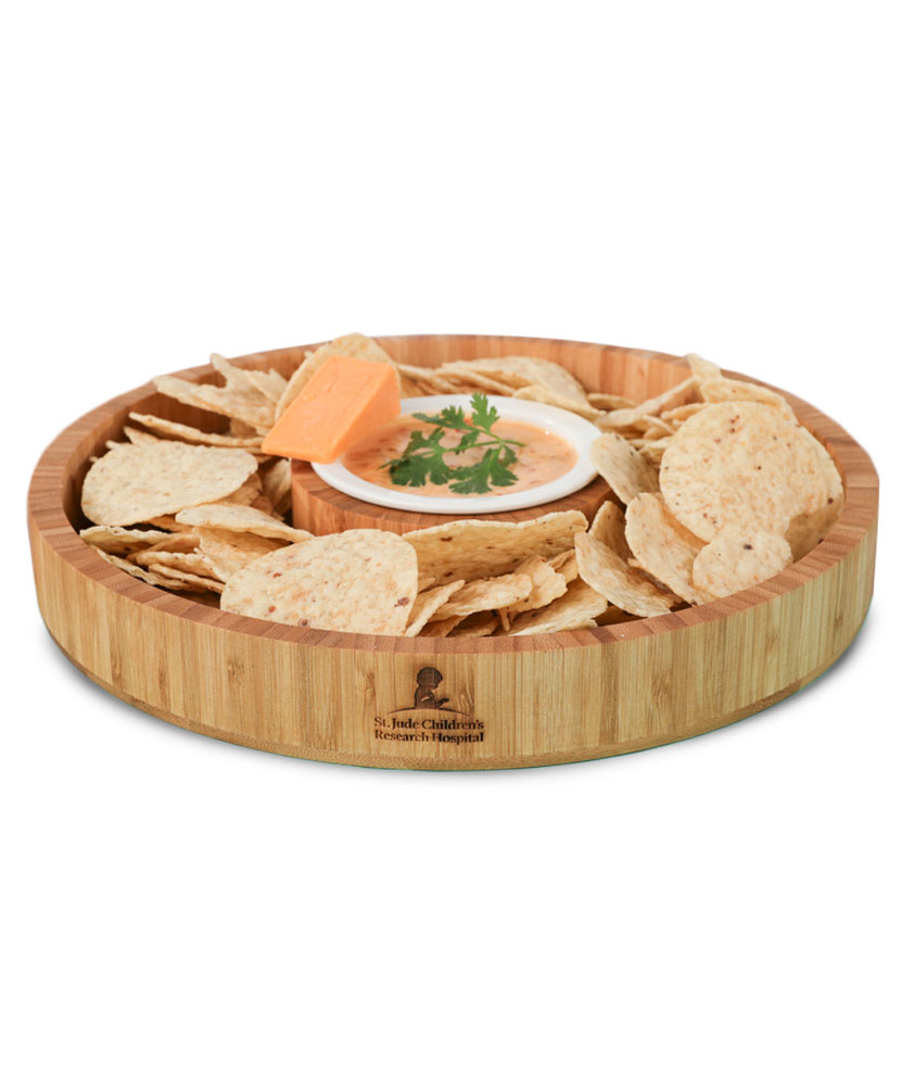 Chip & Dip Bamboo Serving Tray