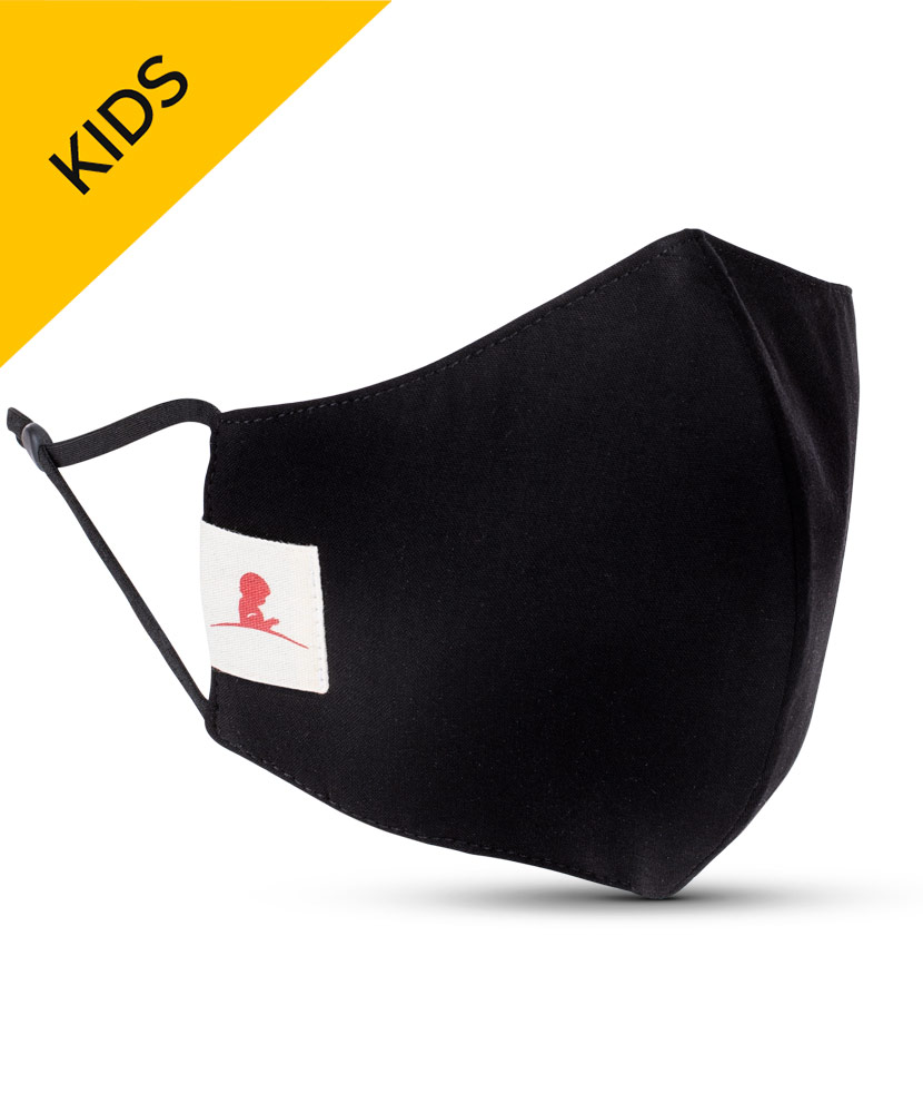 KIDS Solid Black 2-ply Cotton Mask with Adjustable Straps