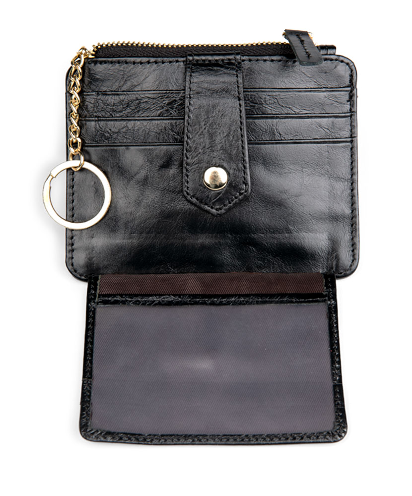 Black Leather Card Wallet with Key Ring