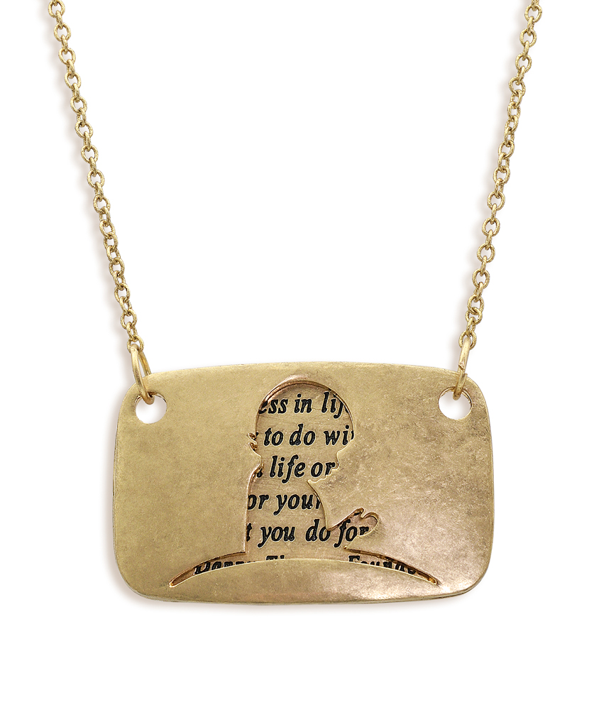 Hinged Danny Thomas Quote Gold Necklace