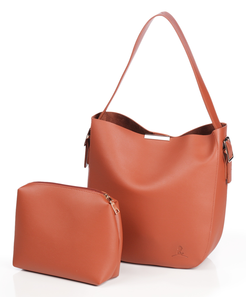 Caramel Shoulder Tote with Accessory Bag