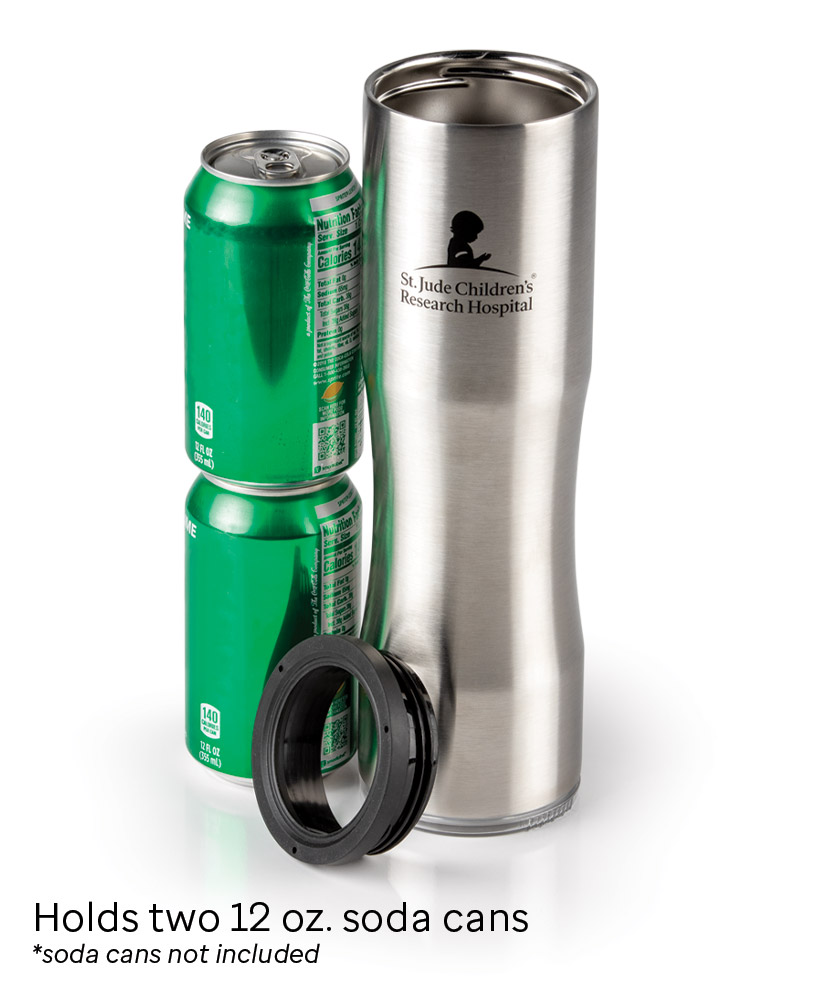 2-in-1 Two-Can Cooler & 27 oz. Insulated Silver Tumbler