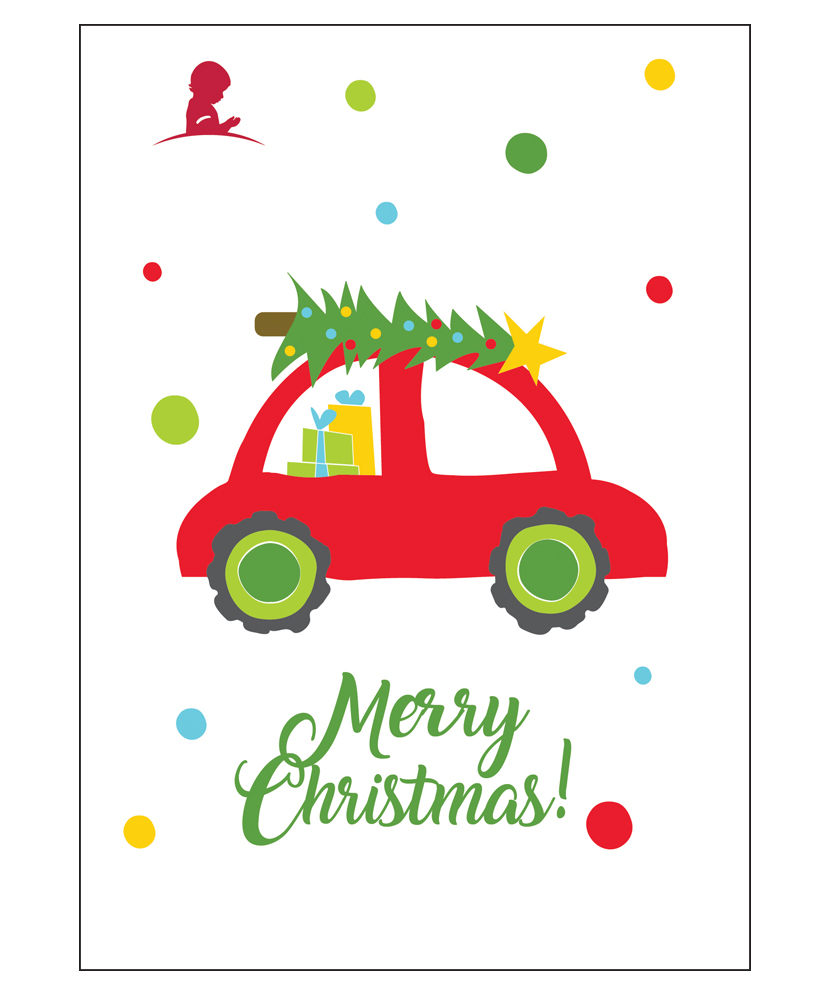 Vintage Christmas Car Holiday Greeting Cards - Set of 10