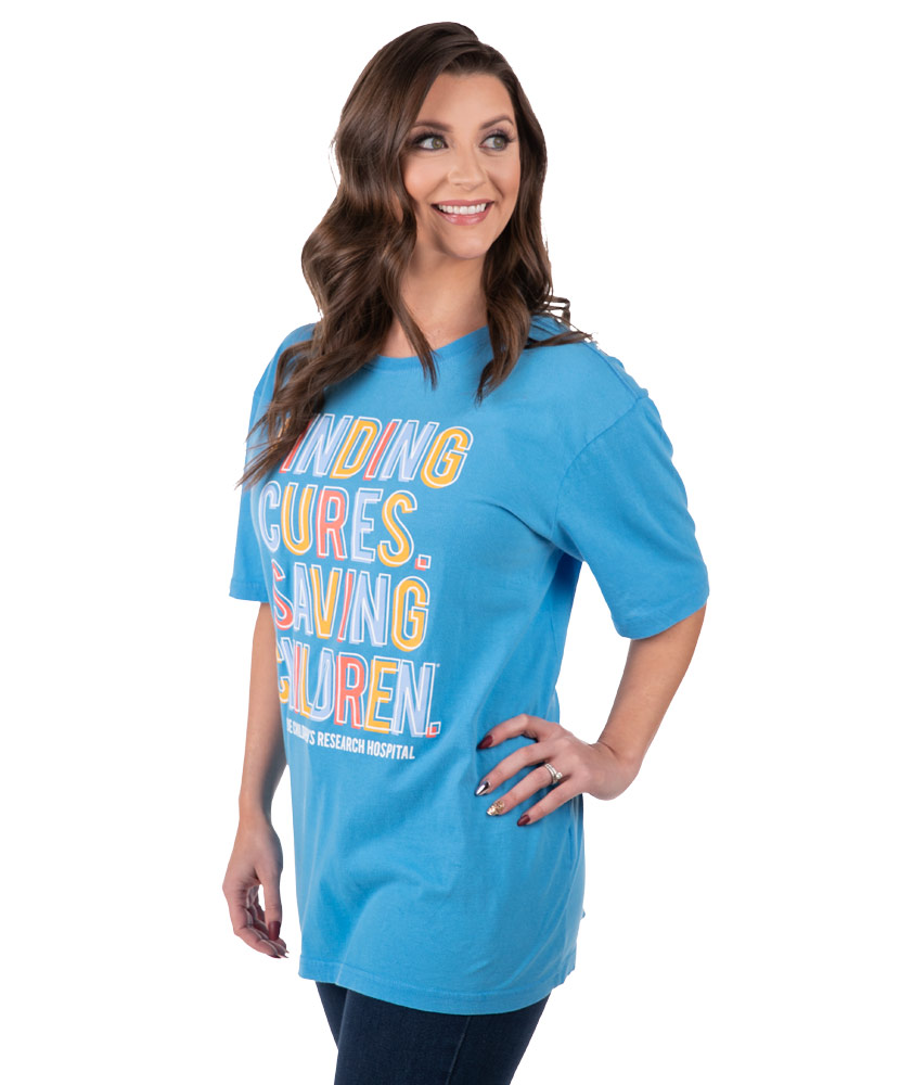 Multi-Colored Finding Cures Saving Children Blue T-Shirt