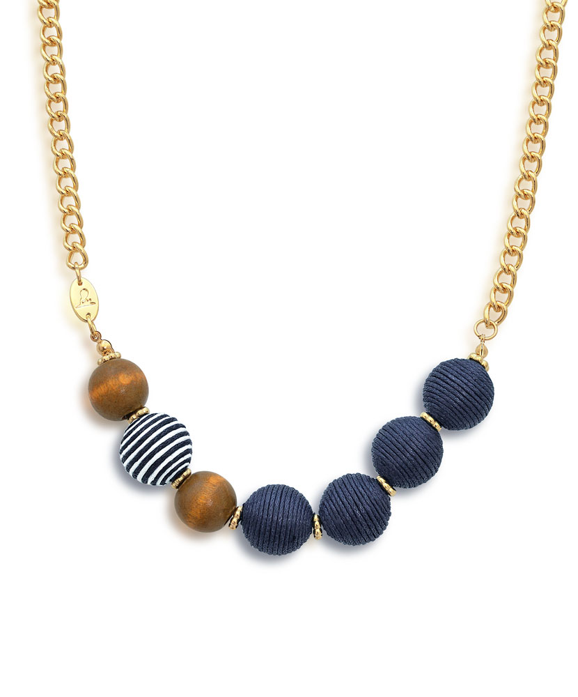Wood and Thread Ball Beaded Navy and Gold Necklace