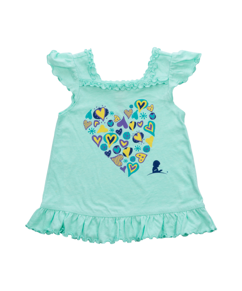 Toddler Hearts Collage Ruffle Dress - Green